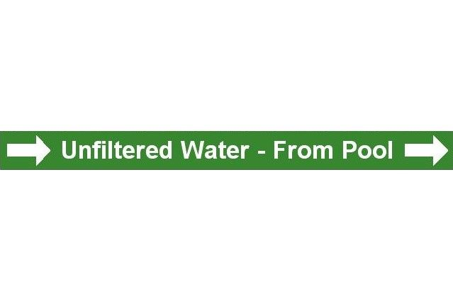 Pipe Label  Unfiltered Water From Pool Right