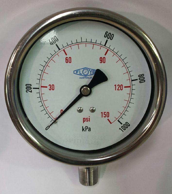 Pressure Gauge  100mm Bottom Entry  01000 kPa Stainless Steel