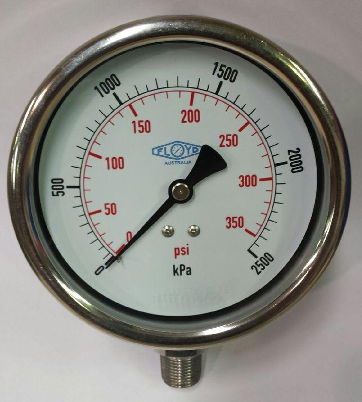Pressure Gauge  100mm Bottom Entry  02500 kPa Stainless Steel