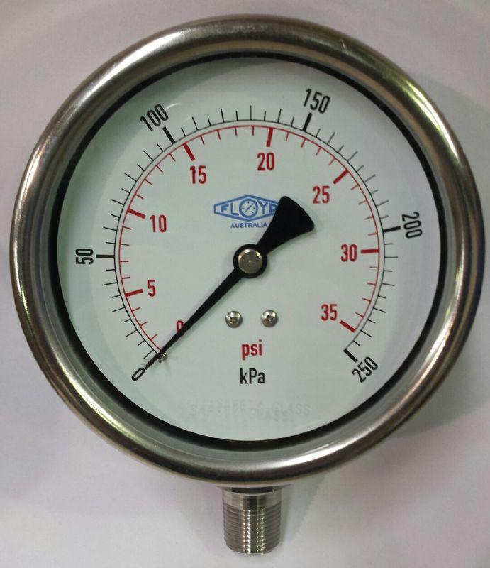 Pressure Gauge  100mm Bottom Entry  0250 kPa Stainless Steel