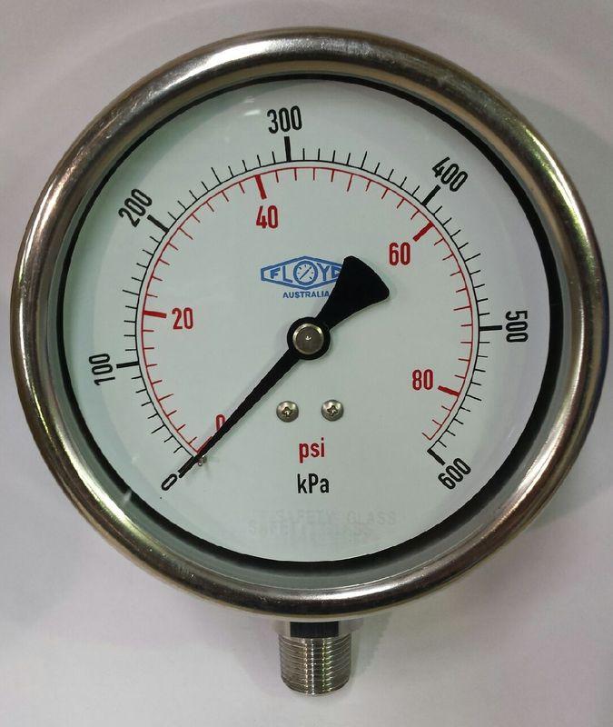Pressure Gauge  100mm Bottom Entry  0600 kPa Stainless Steel