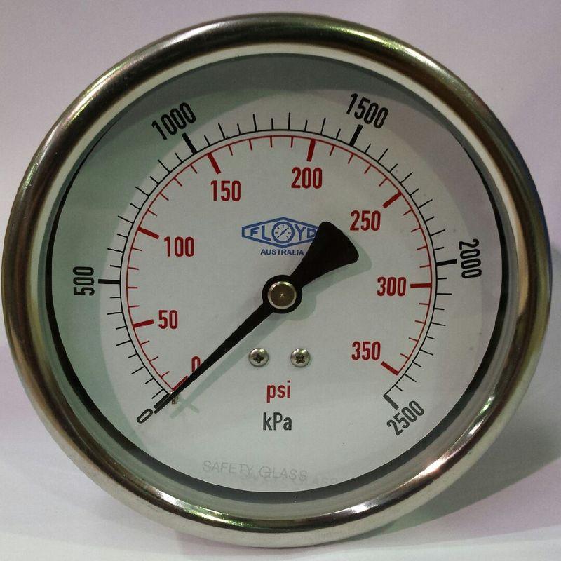 Pressure Gauge  100mm Rear Entry  02500 kPa Stainless Steel