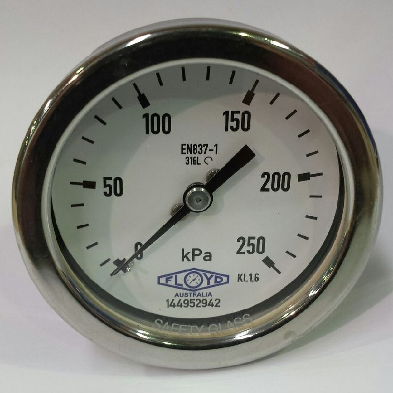 Pressure Gauge  100mm Rear Entry  0250 kPa Stainless Steel