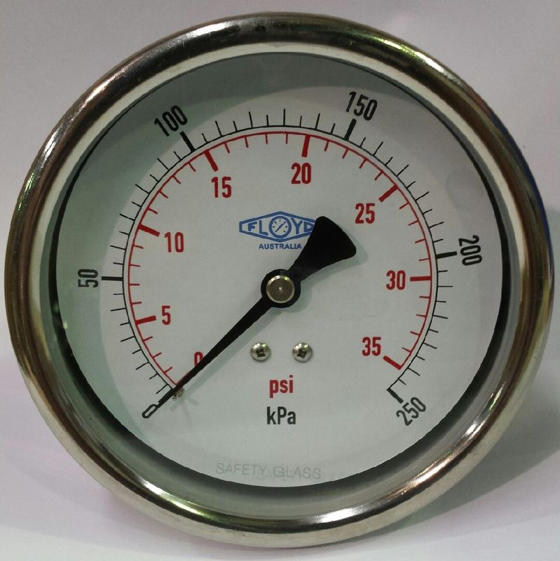 Pressure Gauge  100mm Rear Entry  0250 kPa Stainless Steel