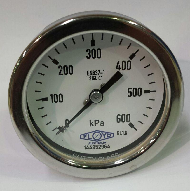 Pressure Gauge  100mm Rear Entry  0600 kPa Stainless Steel