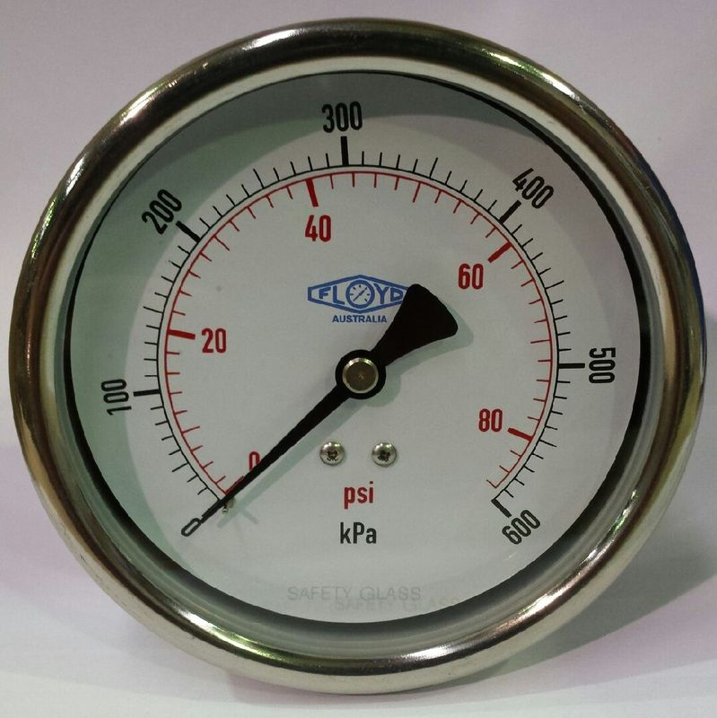 Pressure Gauge  100mm Rear Entry  0600 kPa Stainless Steel
