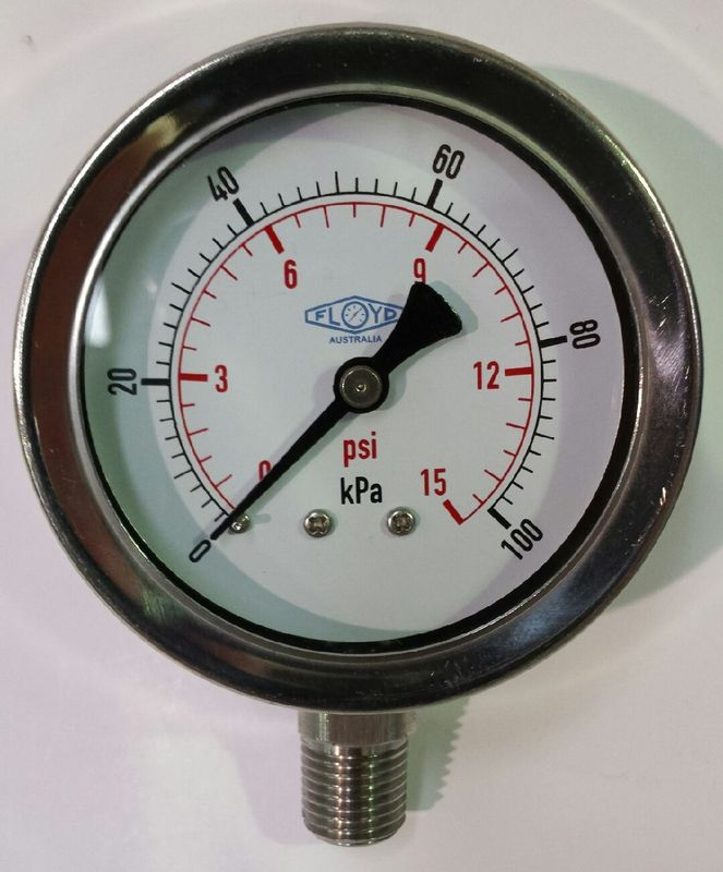 Pressure Gauge  63mm Bottom Entry  0100 kPa Stainless Steel
