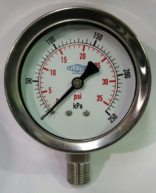 Pressure Gauge  63mm Bottom Entry  0250 kPa Stainless Steel