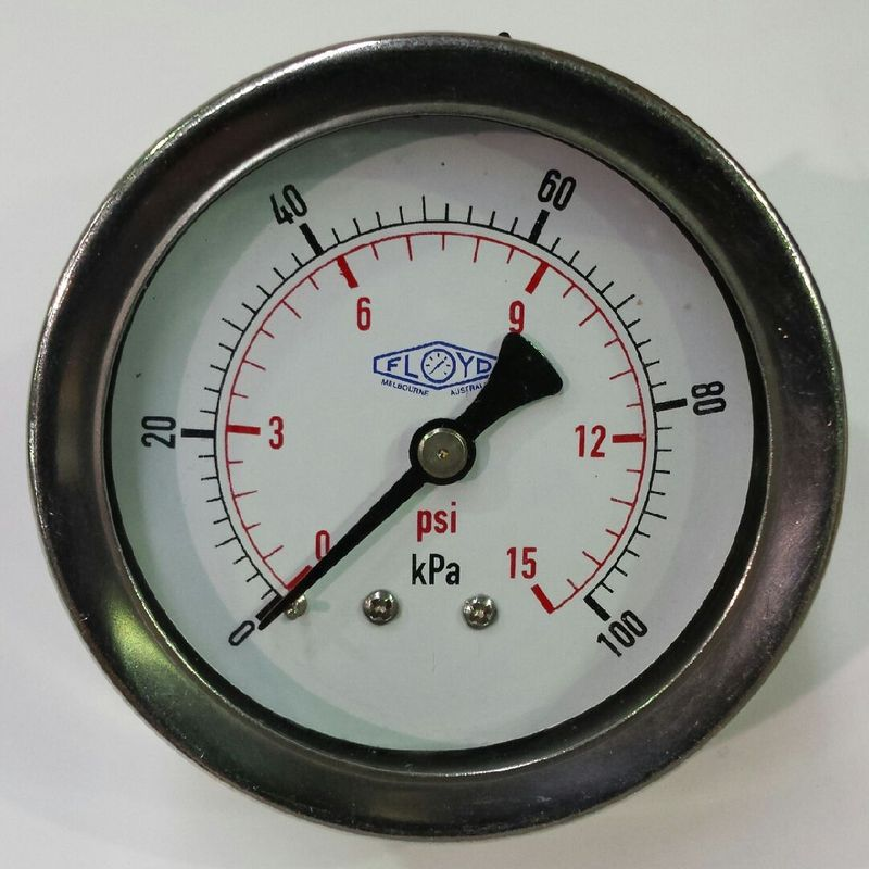 Pressure Gauge  63mm Rear Entry  0100 kPa Stainless Steel