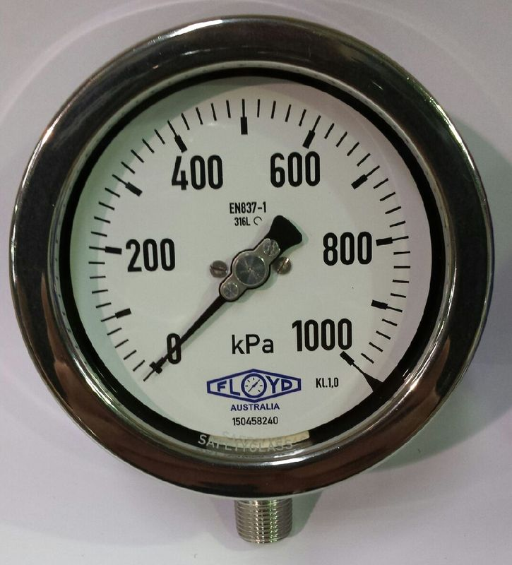 Pressure Gauge   100mm Bottom Entry   01000 kPa Stainless Steel