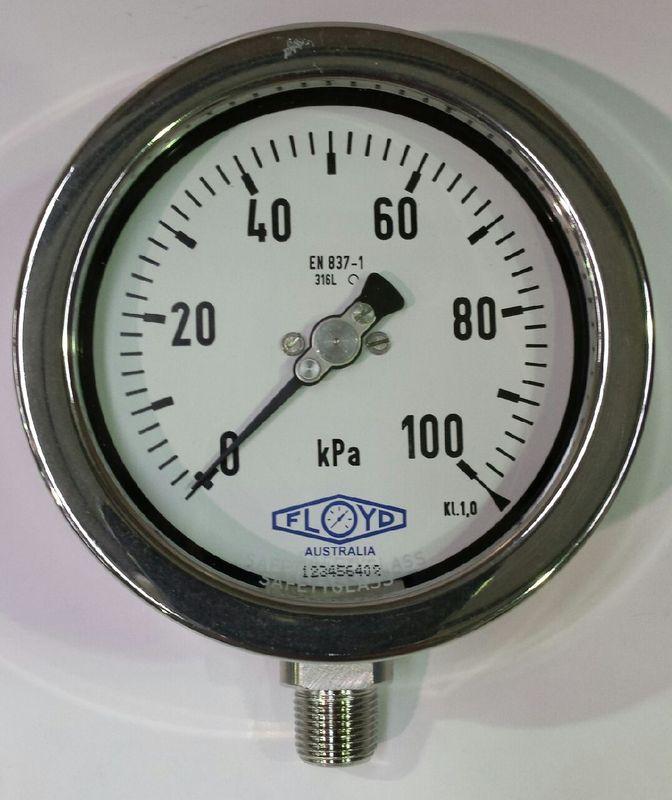 Pressure Gauge   100mm Bottom Entry   0100 kPa Stainless Steel