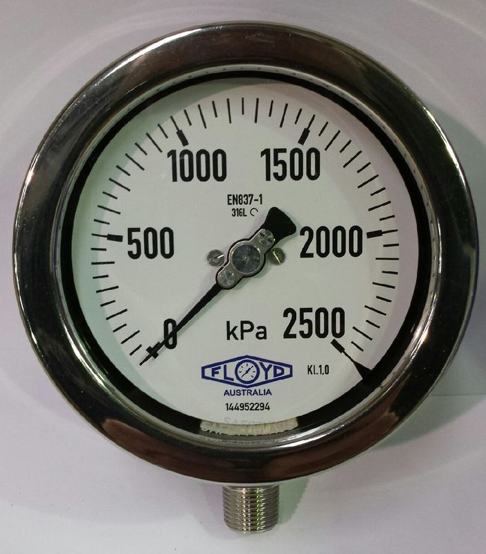 Pressure Gauge   100mm Bottom Entry   02500 kPa Stainless Steel