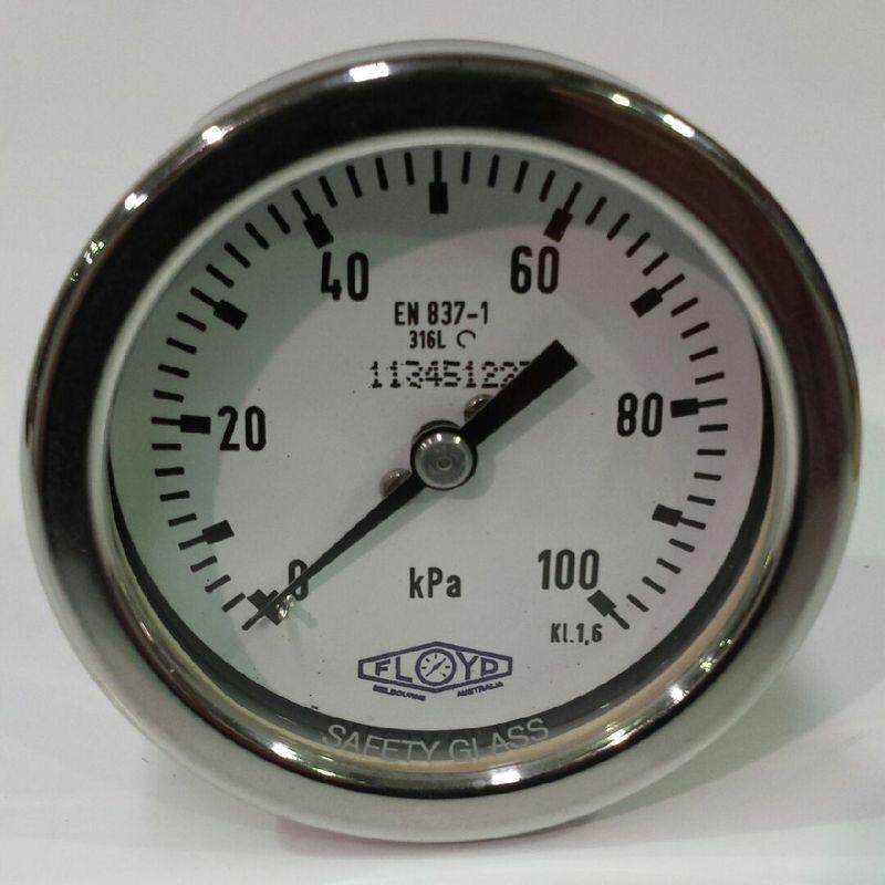 Pressure Gauge   100mm Rear Entry   0100 kPa Stainless Steel