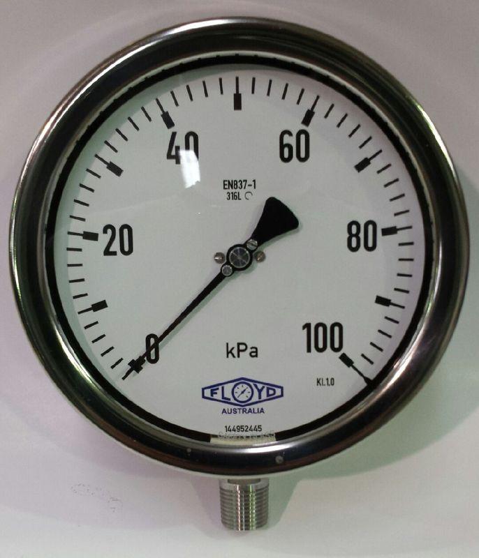 Pressure Gauge   160mm Bottom Entry   0100 kPa Stainless Steel