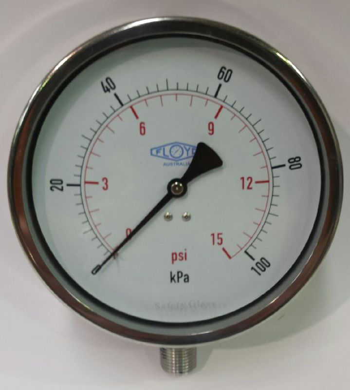 Pressure Gauge   160mm Bottom Entry   0100 kPa Stainless Steel