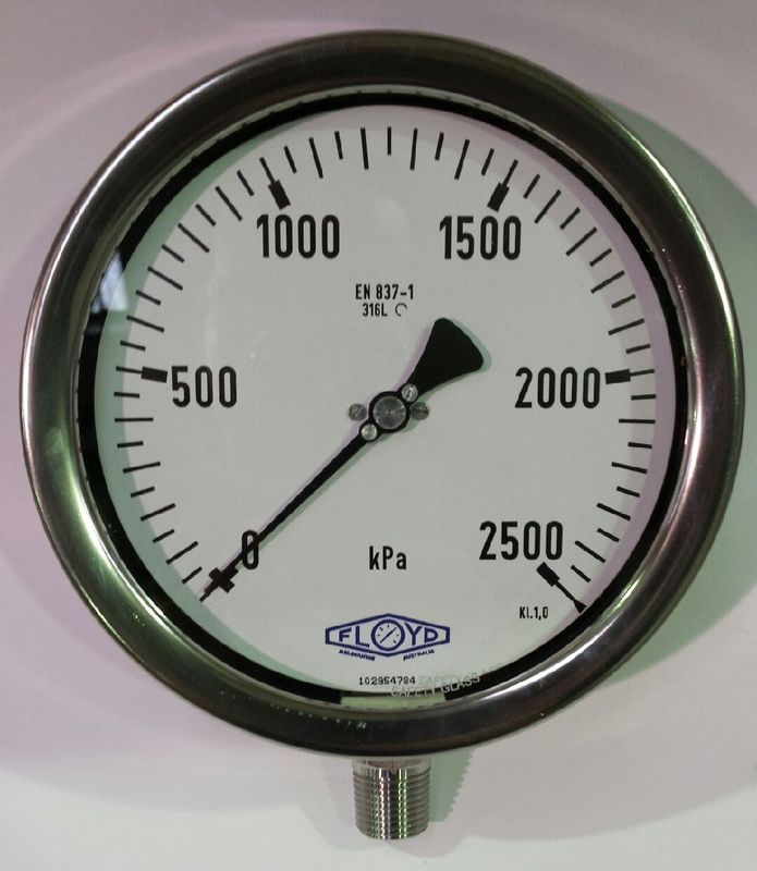 Pressure Gauge   160mm Bottom Entry   02500 kPa Stainless Steel