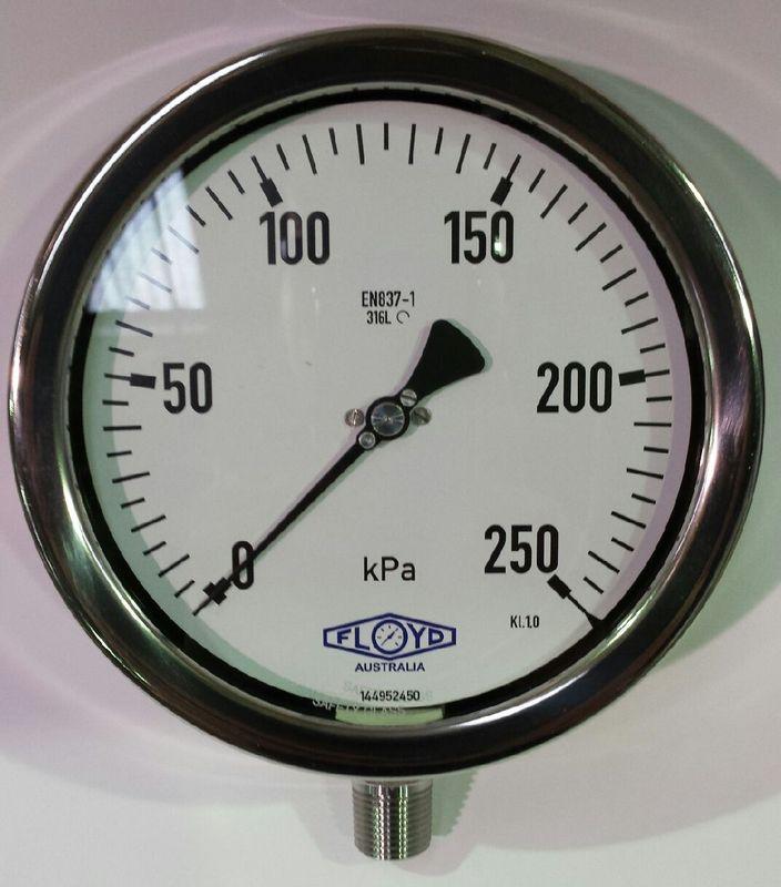 Pressure Gauge   160mm Bottom Entry   0250 kPa Stainless Steel