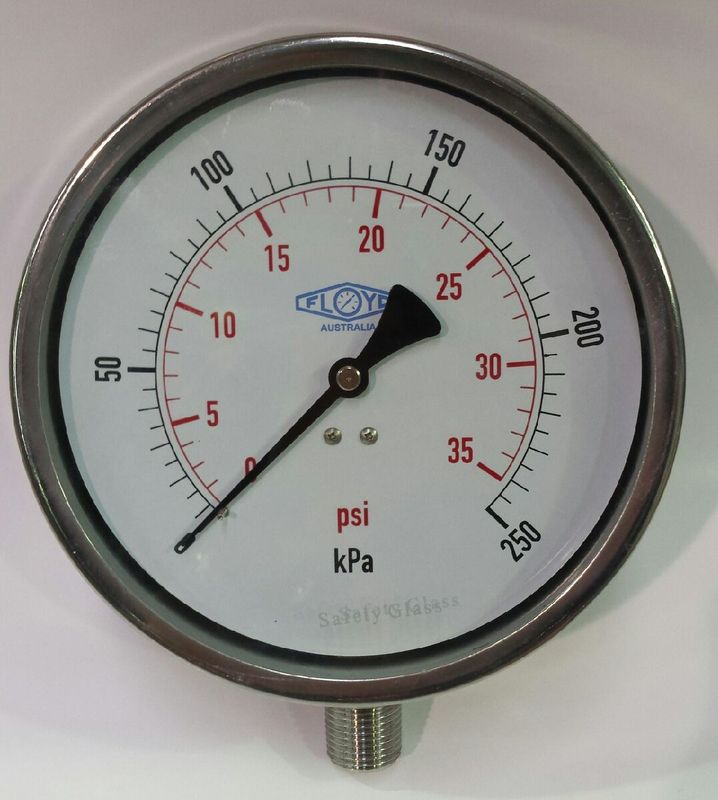 Pressure Gauge   160mm Bottom Entry   0250 kPa Stainless Steel