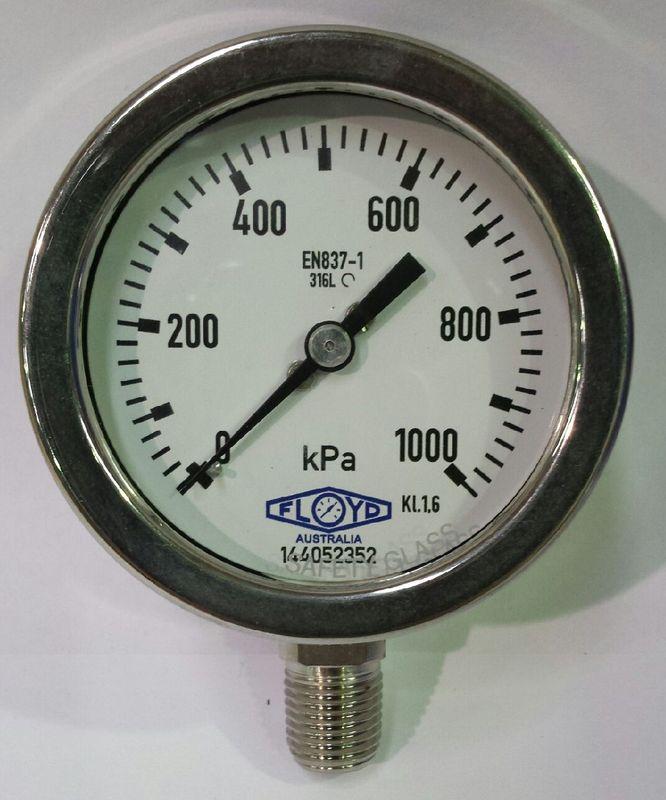Pressure Gauge   63mm Bottom Entry   01000 kPa Stainless Steel