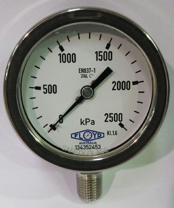Pressure Gauge   63mm Bottom Entry   02500 kPa Stainless Steel