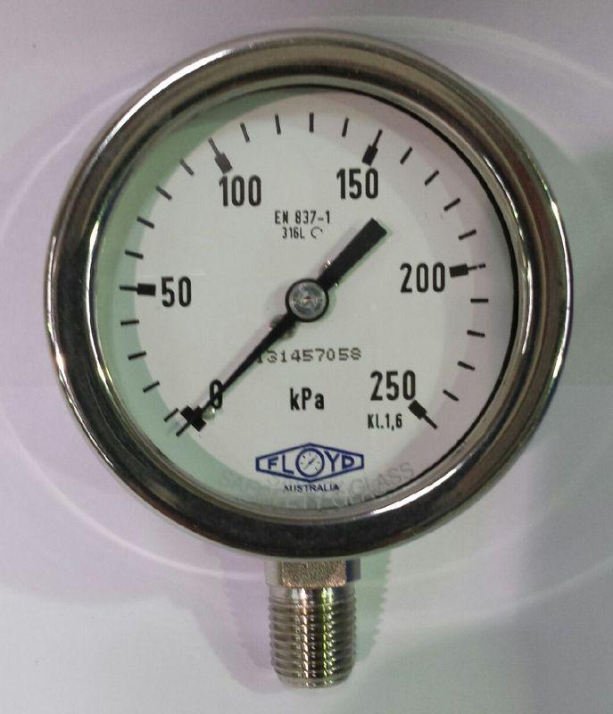 Pressure Gauge   63mm Bottom Entry   0250 kPa Stainless Steel