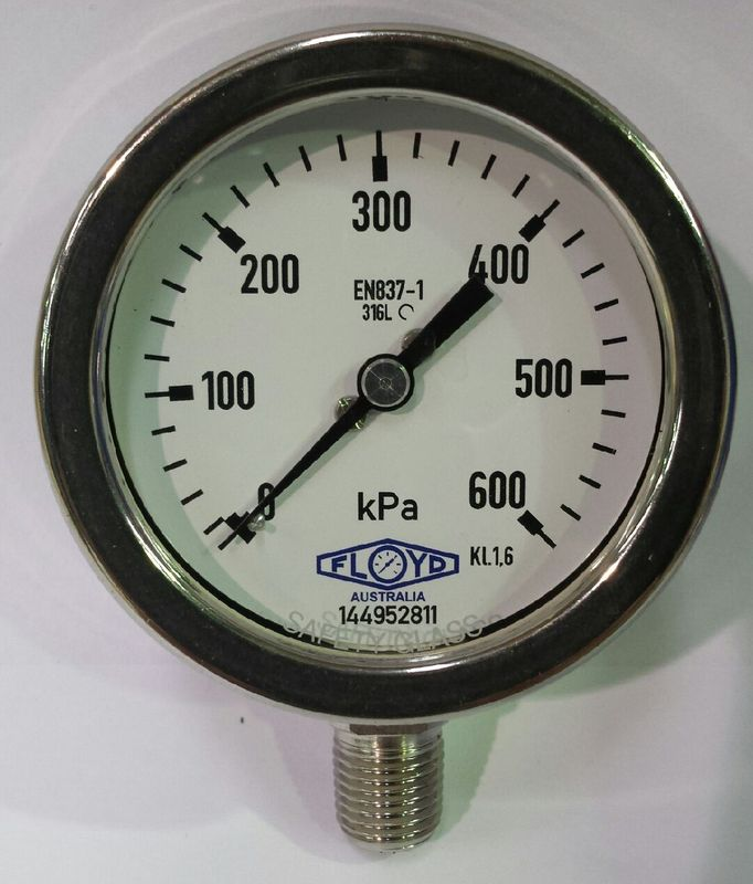 Pressure Gauge   63mm Bottom Entry   0600 kPa Stainless Steel