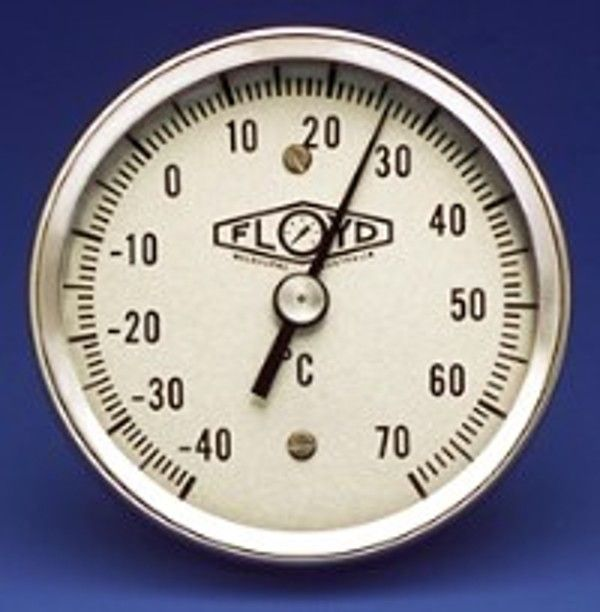 Temperature Gauge 80mm Dial   Bottom Stem   050C Stainless Steel