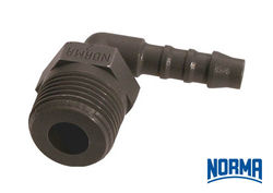 "Elbow Hose Connector 19.0mm x 3/4"" BSPT"