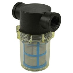 "Filter - Large Poly Female NPT 1"" - Clear Bowl - Blue SS Screen"