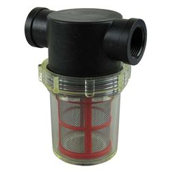 "Filter - Large Poly Female NPT 1"" - Clear Bowl - Red SS Screen"