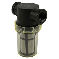 """Inline Water Filter - Regular Polypropylene Body - ¾"""" NPT Clear Bowl - Black SS Screen"""