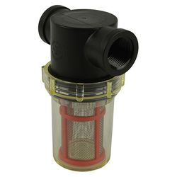 """Inline Water Filter - Regular Polypropylene Body - ¾"""" NPT Clear Bowl - Red SS Screen"""