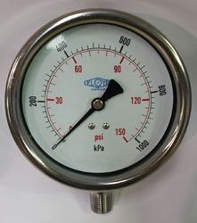 Pressure Gauge - 100mm Bottom Entry - 0/1000 kPa Stainless Steel