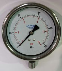 Pressure Gauge - 100mm Bottom Entry - 0/100 kPa Stainless Steel