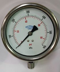 Pressure Gauge - 100mm Bottom Entry - 0/600 kPa Stainless Steel