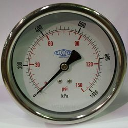 Pressure Gauge - 100mm Rear Entry - 0/1000 kPa Stainless Steel