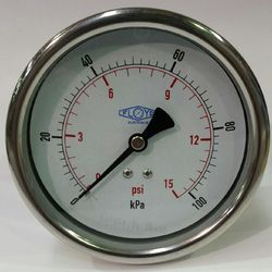 Pressure Gauge - 100mm Rear Entry - 0/100 kPa Stainless Steel