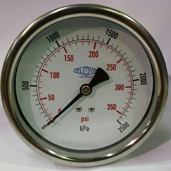 Pressure Gauge - 100mm Rear Entry - 0/2500 kPa Stainless Steel