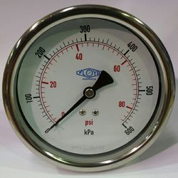Pressure Gauge - 100mm Rear Entry - 0/600 kPa Stainless Steel