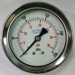 Pressure Gauge - 63mm Rear Entry - 0/250 kPa Stainless Steel