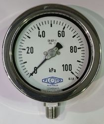 Pressure Gauge   100mm Bottom Entry   0100 kPa Stainless Steel
