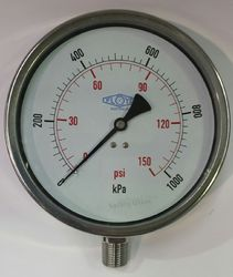 Pressure Gauge - 160mm Bottom Entry - 0/1000 kPa Stainless Steel