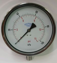 Pressure Gauge - 160mm Bottom Entry - 0/100 kPa Stainless Steel