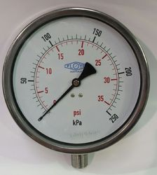 Pressure Gauge - 160mm Bottom Entry - 0/250 kPa Stainless Steel