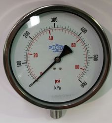 Pressure Gauge - 160mm Bottom Entry - 0/600 kPa Stainless Steel