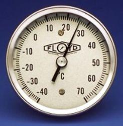 Temperature Gauge 80mm Dial   Rear Stem   050C Stainless Steel